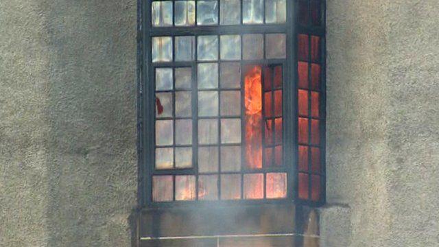Glasgow School of Art in flames