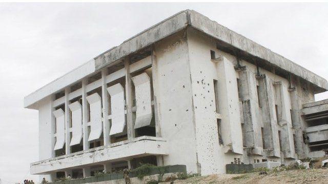 A damaged building