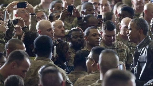 Troops surround President Obama