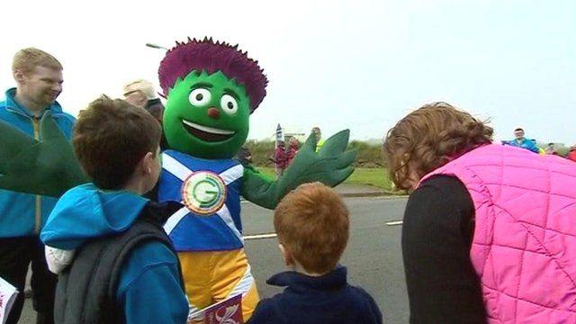 Baton mascot Clyde