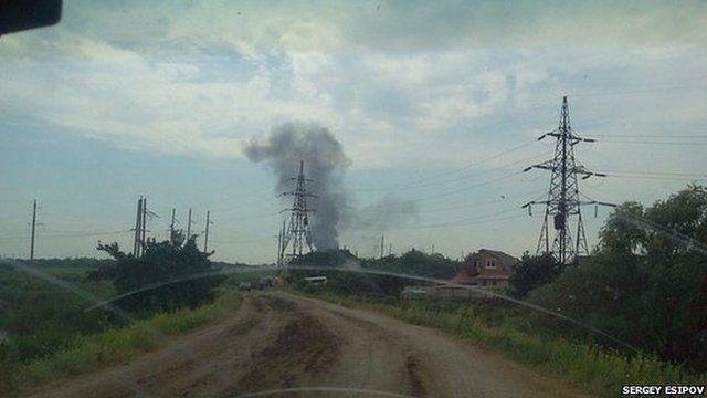 Scene of helicopter crash near Sloviansk