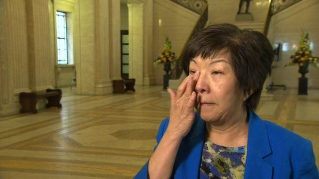 Anna Lo broke down in tears as she spoke to reporters about her own experience of racist abuse in Northern Ireland