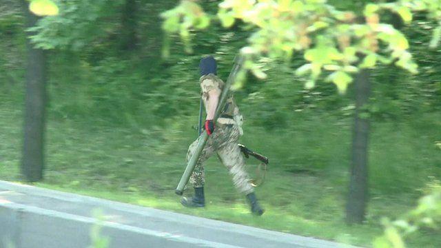 A rebel fighter in Donetsk, eastern Ukraine