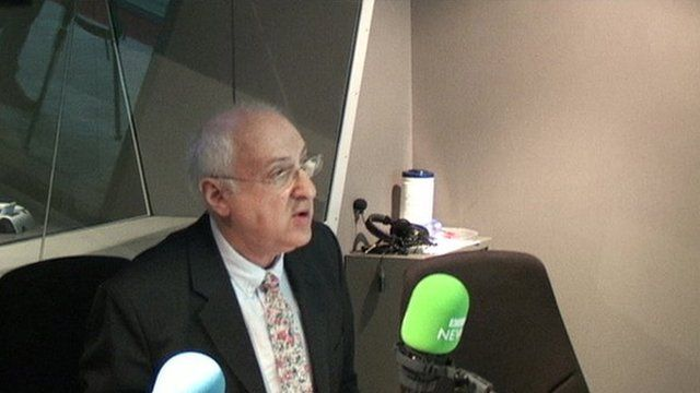 Lord Carlile being interviewed for the BBC's World at One programme