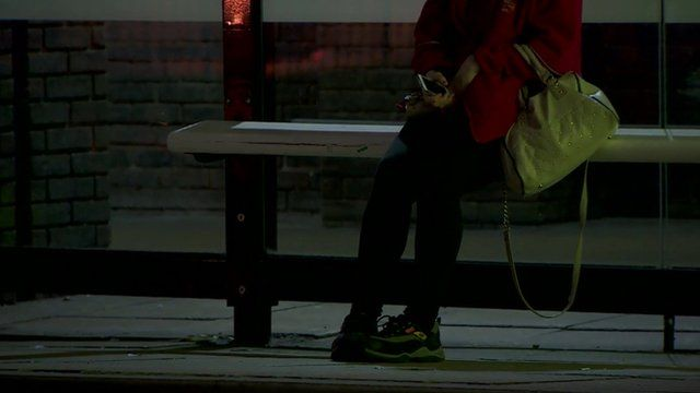 Anonymous girl at bus stop