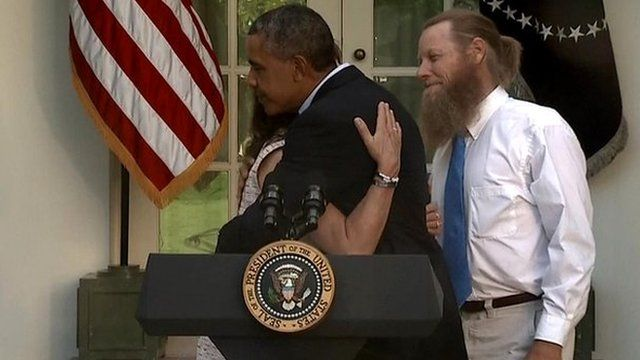 President Barack Obama and Robert and Jani Bergdahl, the parents of US Army Sergeant Bowe Bergdahl