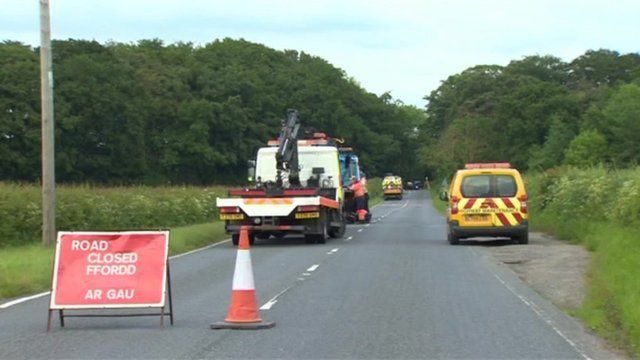 Scene of collision near Pontblyddyn