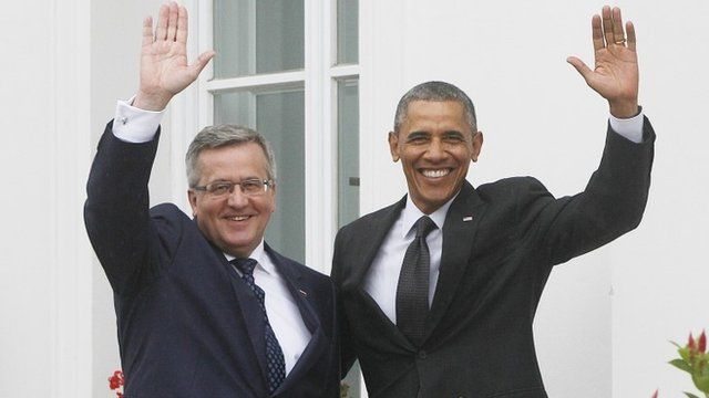 US President Barack Obama and Poland's President Bronislaw Komorowski