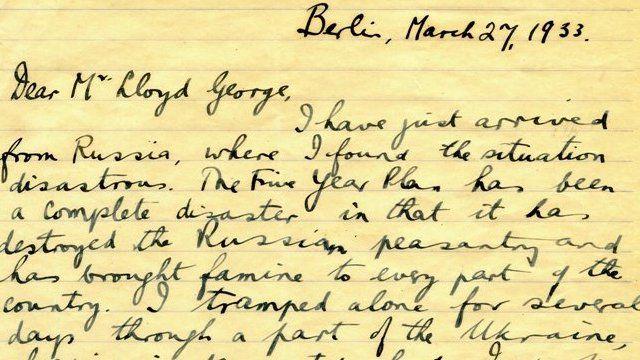 Llythyr Gareth Jones at y cyn Brif Weinidog David Lloyd George