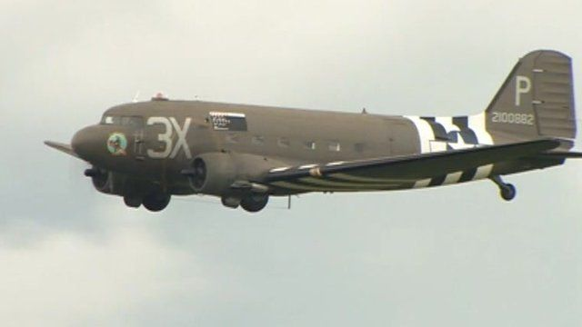 WW2 plane flying above Daedalus airfield in Lee-on-the-Solent
