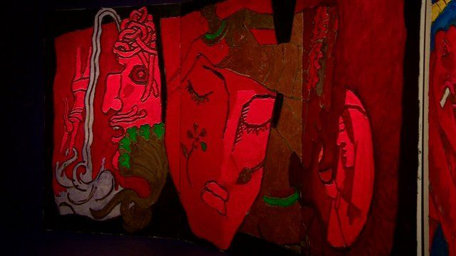 One of the triptychs by MF Husain