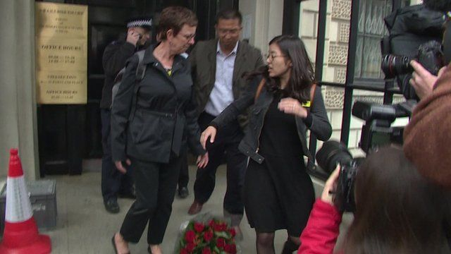 Women shoved outside Chinese embassy