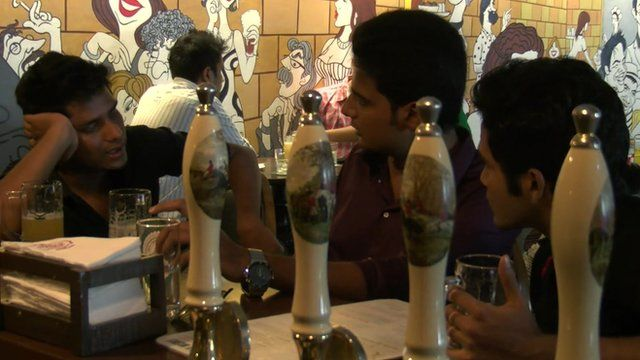 Men drinking beer in Bangalore