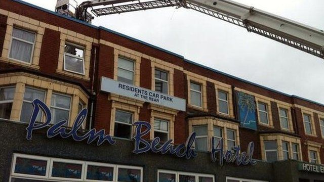 Fire seriously damaged the disused hotel