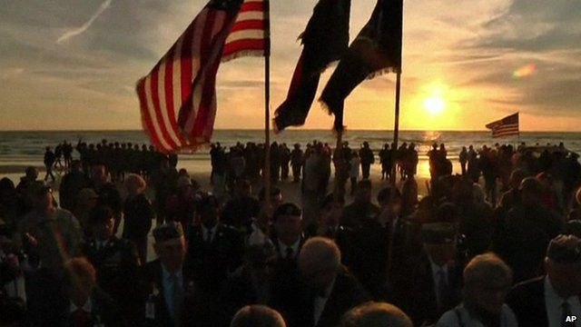 Flags at Omaha Beach