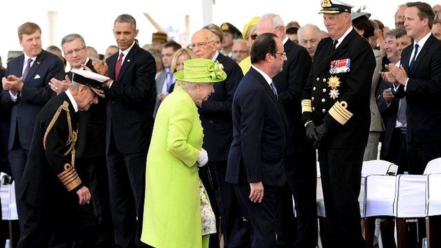 The Queen and world leaders at D-Day event