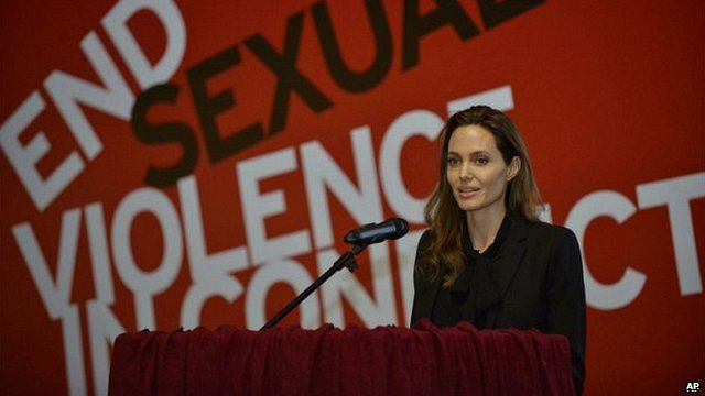 Angelina Jolie speaks during a conference on sexual violence in war in Sarajevo, Bosnia - 28 March 2014