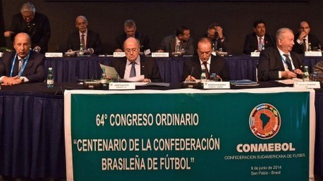 Brazilian and Fifa football officials on 9 June 1014