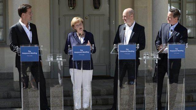 Dutch Prime Minister Mark Rutte, German Chancellor Angela Merkel, Swedish Prime Minister Fredrik Reinfeldt and British Prime Minister David Cameron