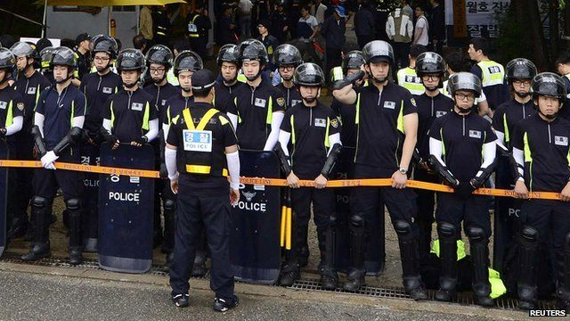 South Korean policemen
