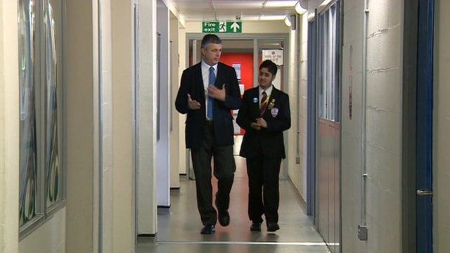 Midlands Today reporter Peter Wilson and pupil
