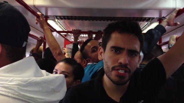 Luis Barrucho on the train to the Arena Corinthians stadium