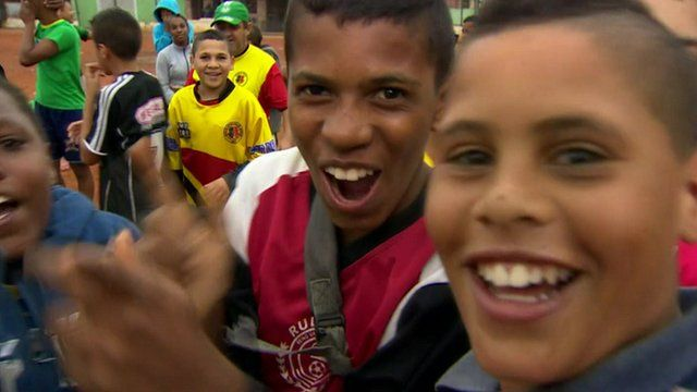 Young football fans in Sao Paulo
