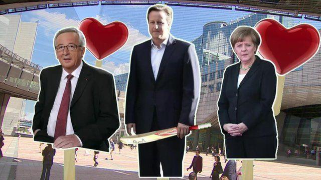 Graphic showing Jean Claude Juncker, David Cameron and Angela Merkel