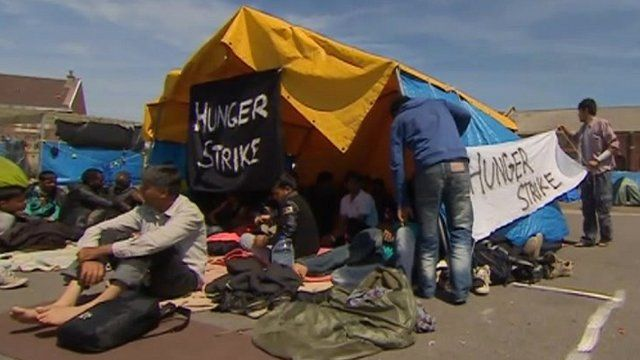 Migrants in Calais on hunger strike