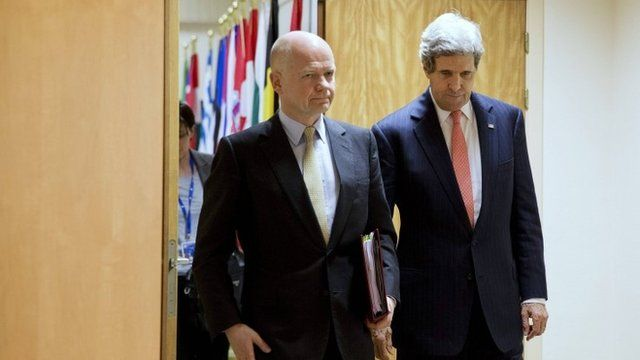 William Hague and John Kerry at a recent meeting at Nato headquarters in Brussels