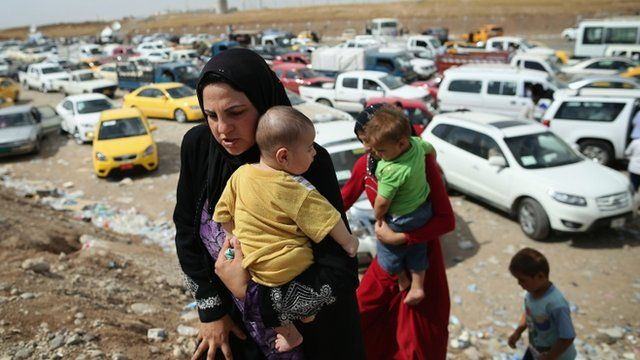 Iraqi refugees in a displacement camp