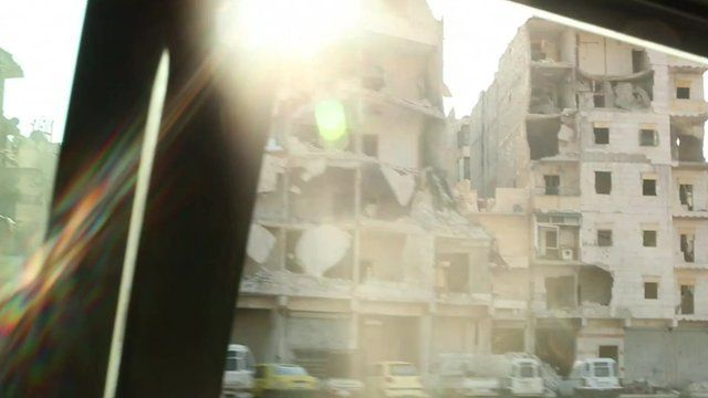 Footage shows war-torn Aleppo, as seen from