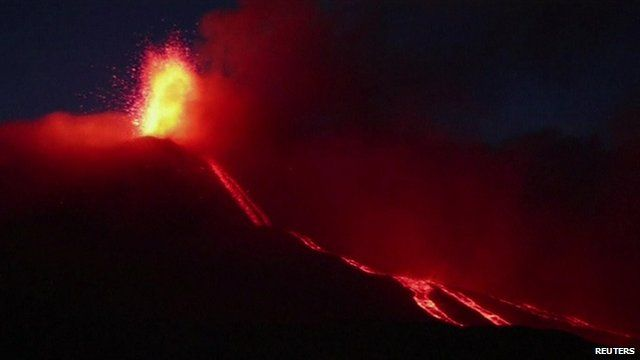 Mount Etna at night