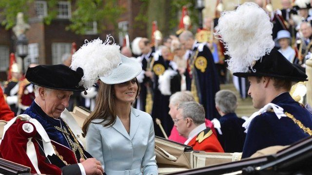 Prince Charles, Prince of Wales, Catherine, Duchess of Cambridge and Prince William, Duke of Cambridge leave by carriage after attending the Most Noble Order of the Garter Ceremony on June 16, 2014 in Windsor, England