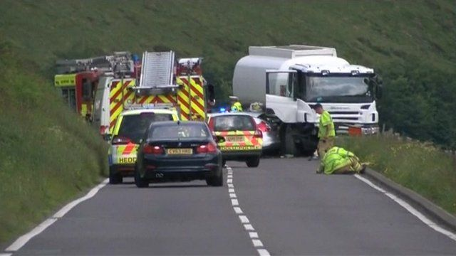 Scene of crash on the A44