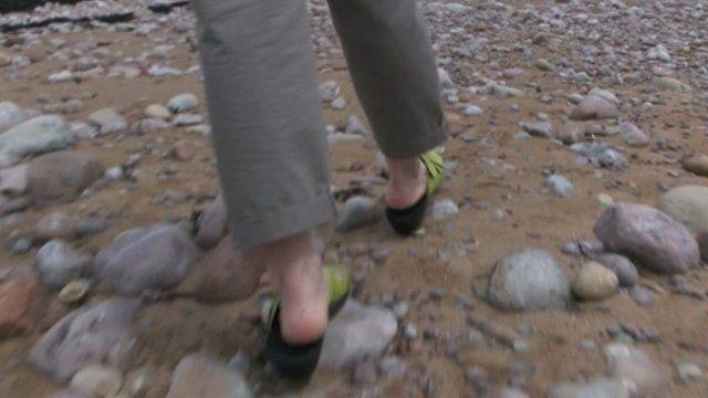 Walking on a Welsh beach