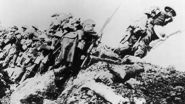 British troops going over the top on the first day of the Battle of the Somme in 1916