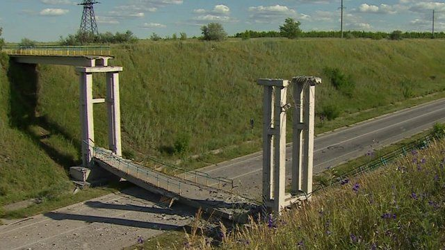 Damaged bridge in eastern Ukraine