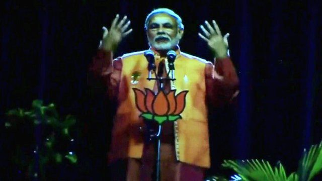 A hologram of Narendra Modi