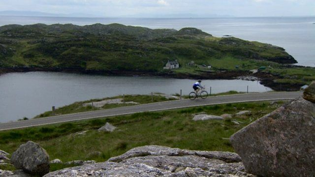 Laura Bicker cycling on the Isle of Harris