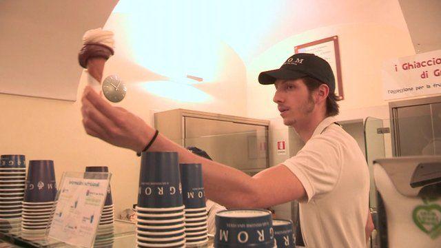 Man serving gelato