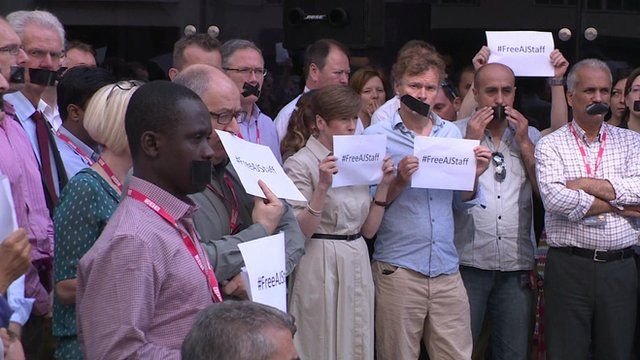 Journalists outside New Broadcasting House