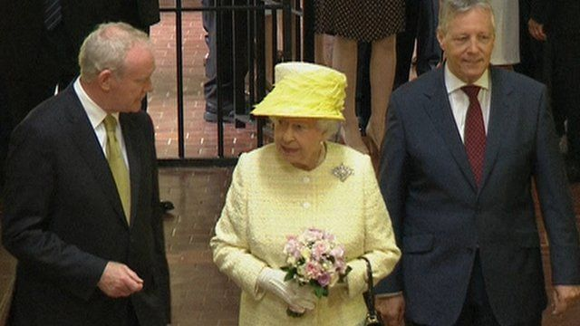 Martin McGuinness, The Queen and Peter Robinson