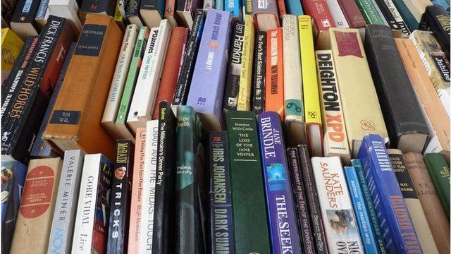 A stack of books in a library