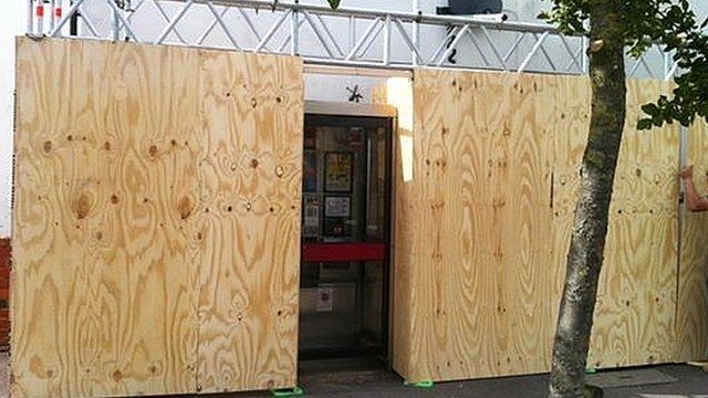 Cheltenham Banksy boarded up