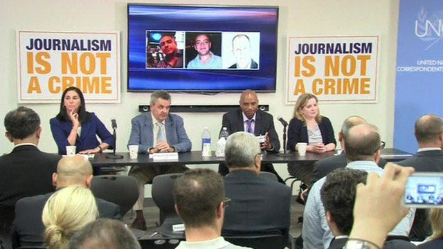 The panel at the meeting of journalists and diplomats called by UNCA at the United Nations