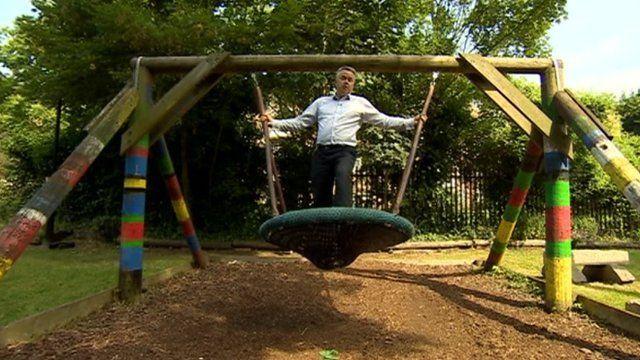 Tim Loughton in playground