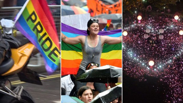Gay rallies in London, Paris and Singapore