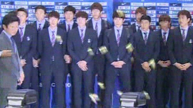 Toffees throw at S Korea football team