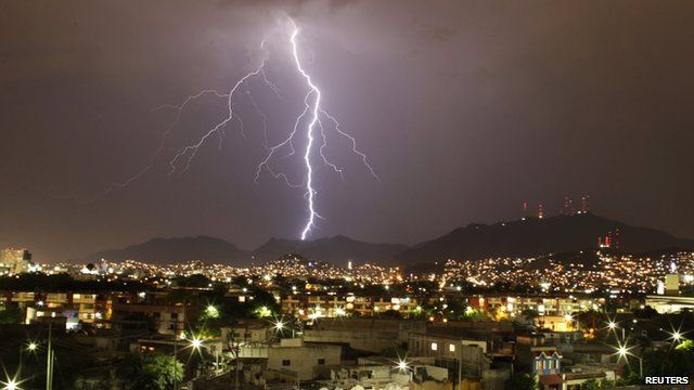 A lightning strike